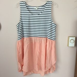 Umgee | Striped Babydoll Top Peach and white sz M